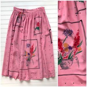 Vintage John Yang 100% Silk Flowy Patterned Skirt
